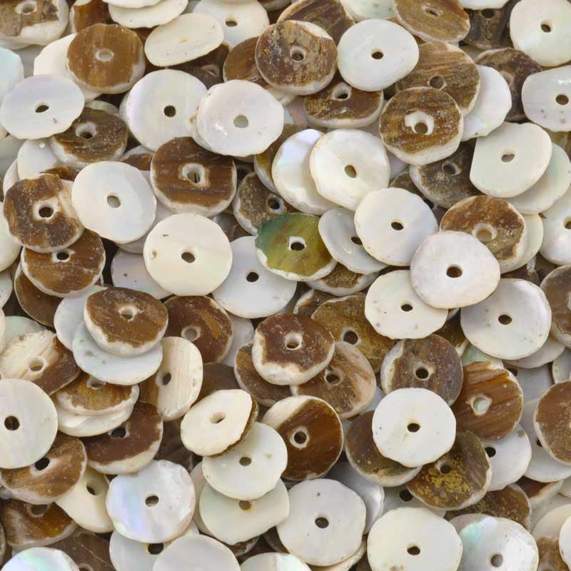 Shell Beads-8mm Grey Oyster Heishi-Round