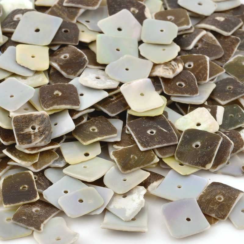 Shell Beads-8mm Grey Oyster Heishi-Square