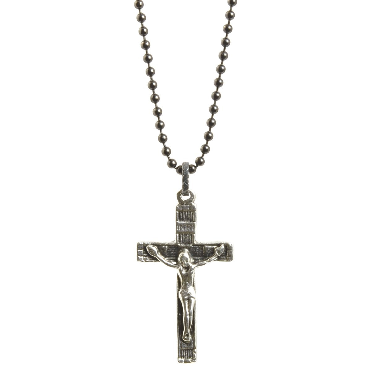 Finished Jewelry-Simple-Catholic Crucifix Cross-Antique Silver-Black Oxide