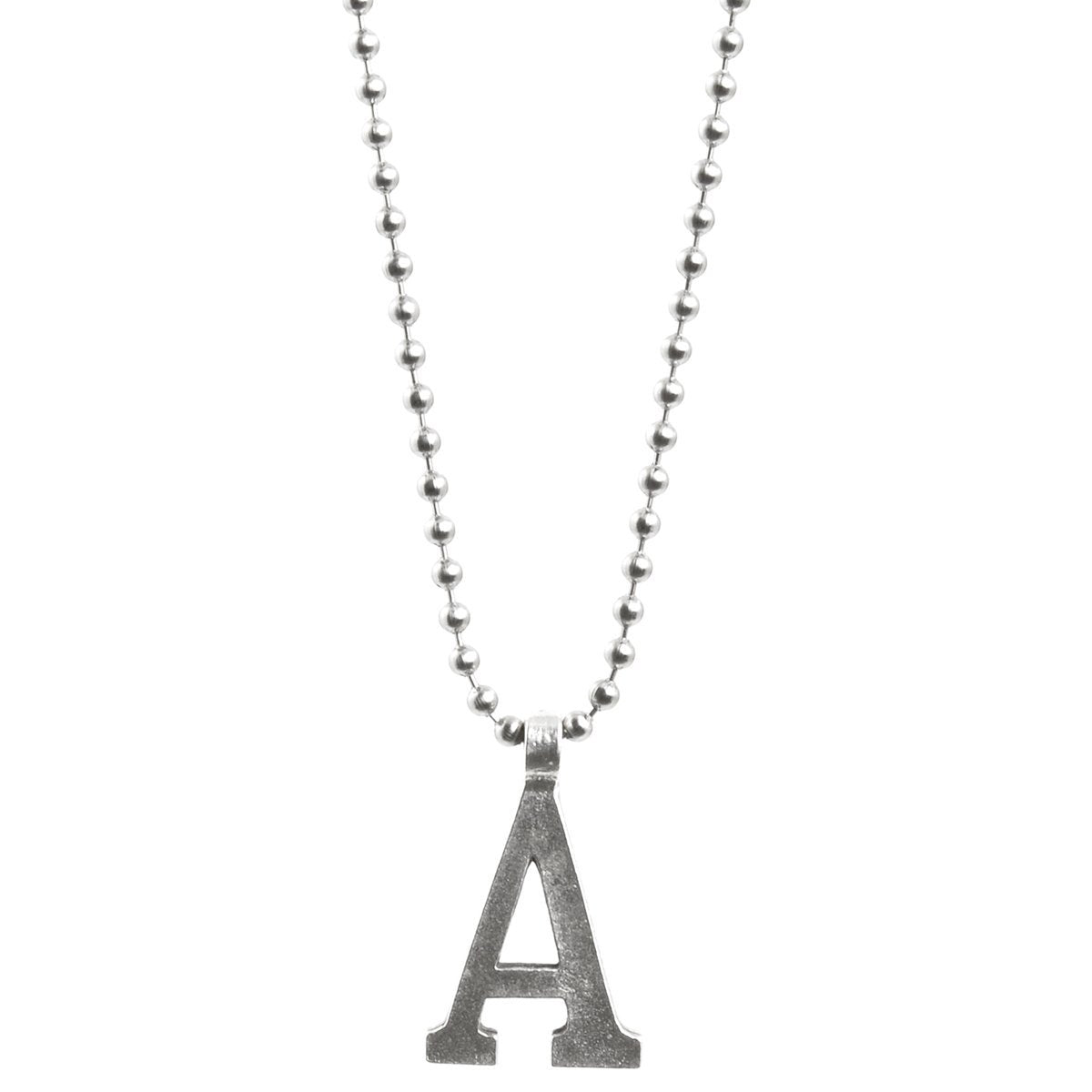 Finished Jewelry-Simple-Letter A-Antique Silver Ball Chain Necklace