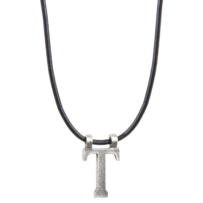 Simple-Letter T Antique Silver Pendant Natural Pacific Leather Necklace