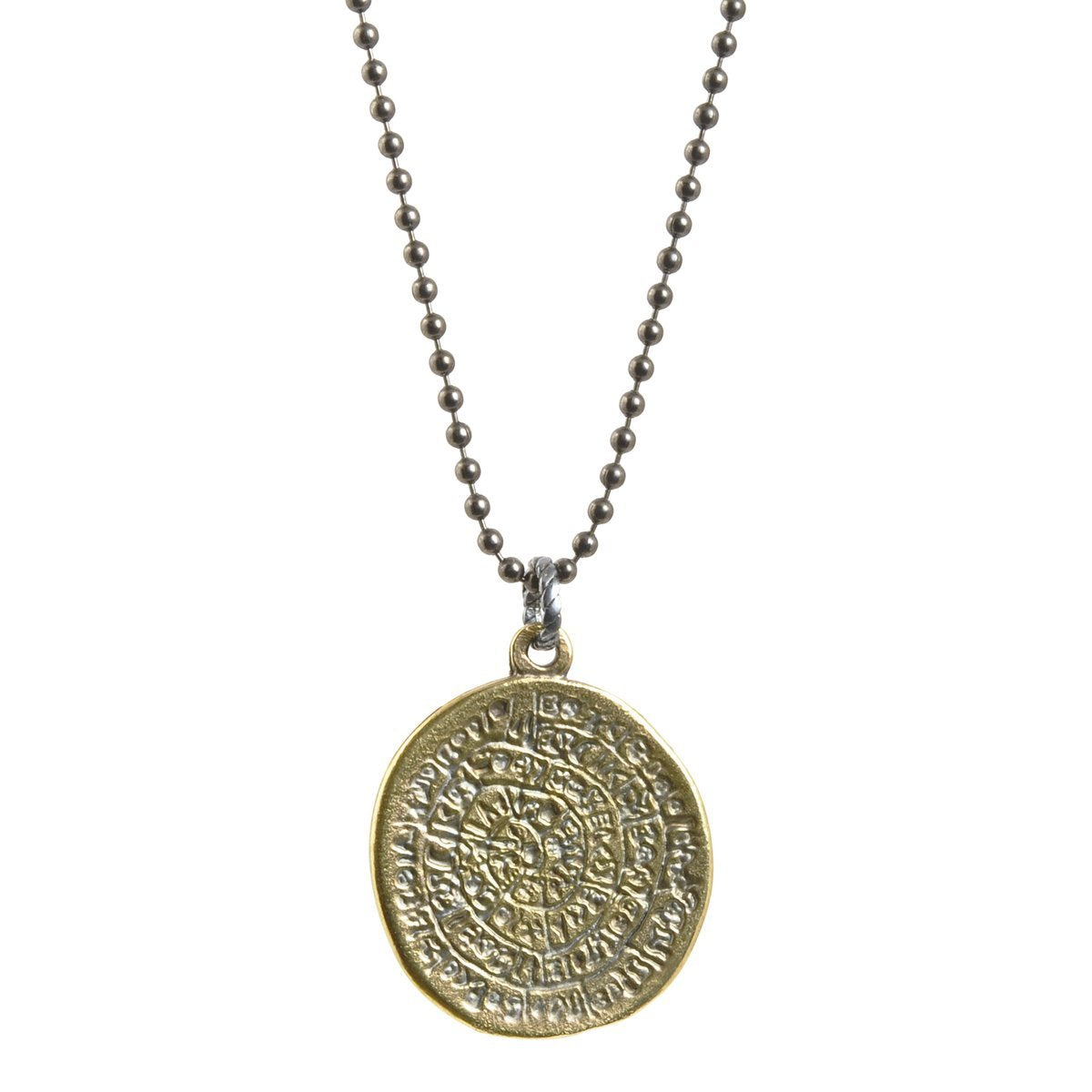 Finished Jewelry-Simple-Phaistos Disc Antique Bronze Pendant Ball Chain Necklace