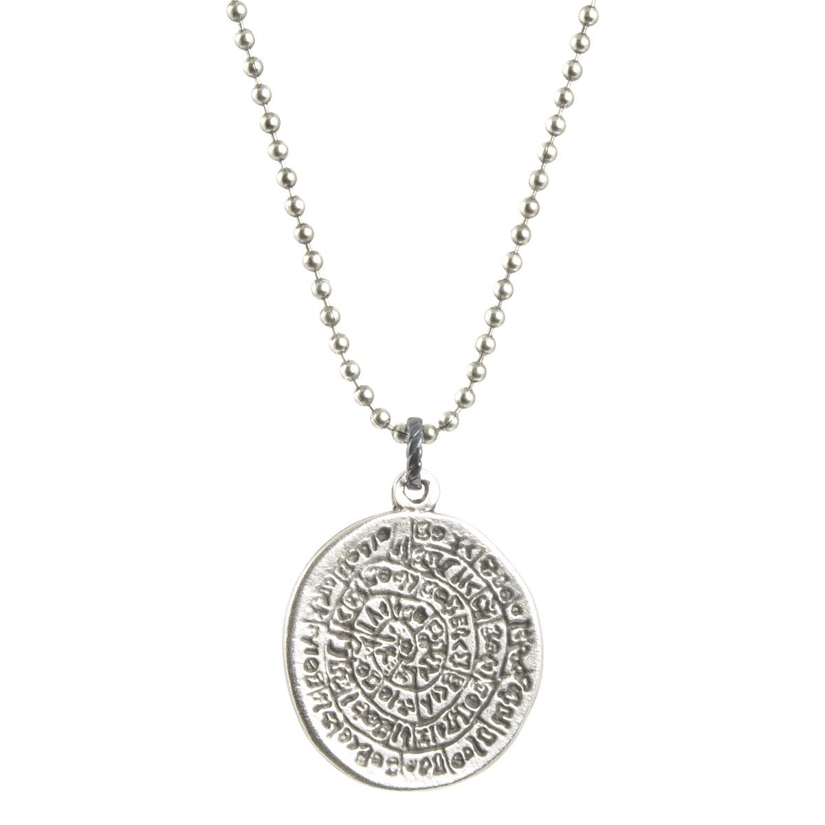 Finished Jewelry-Simple-Phaistos Disc Antique Silver Pendant Ball Chain Necklace