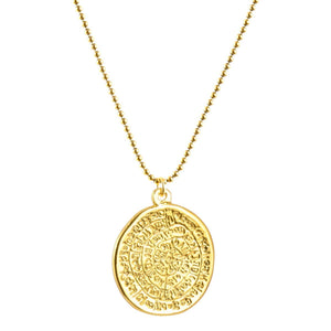 Finished Jewelry-Phaistos Disc Gold Pendant Ball Chain Necklace