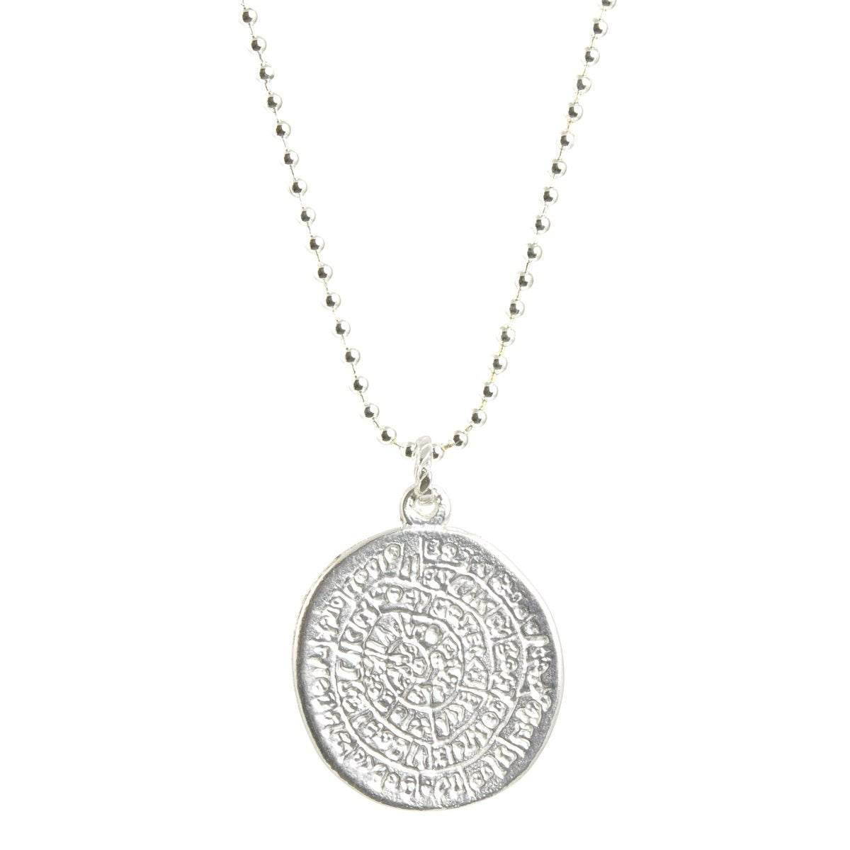 Simple-Phaistos Disc Silver Pendant Ball Chain Necklace