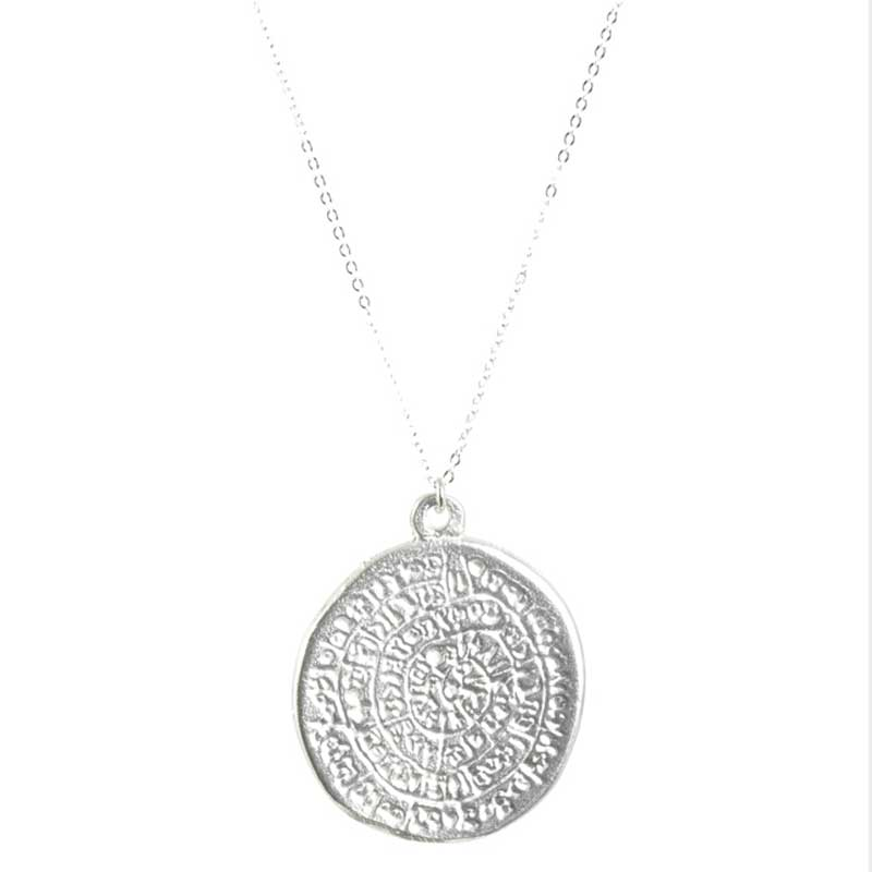Finished Jewelry-Simple-Phaistos Disc Silver Pendant Necklace