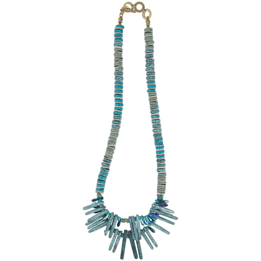 Staax Peacock Feathers Dagger Necklace Handmade Jewelry Focal Camilla Blue
