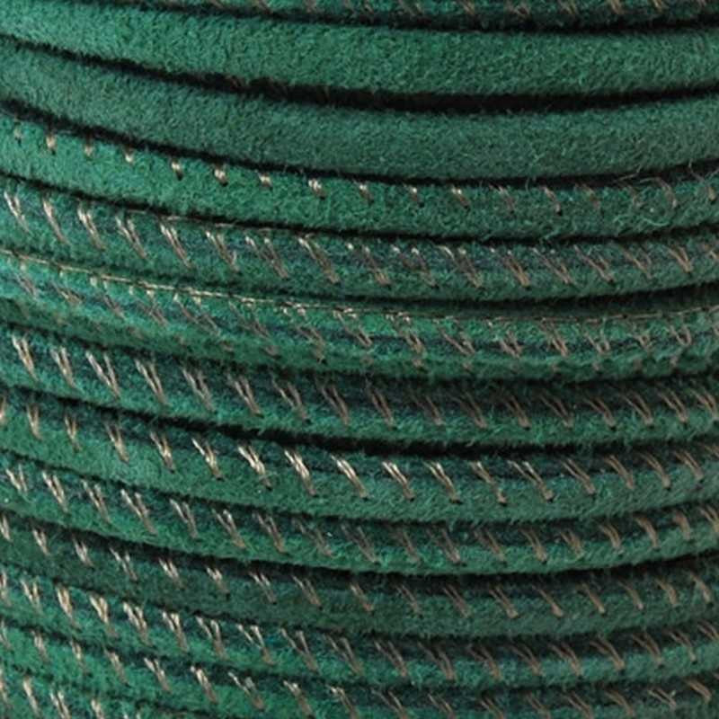 Suede Cord-2.5mm Suede Stitched Cord-Bright Green-10 Meter Spool
