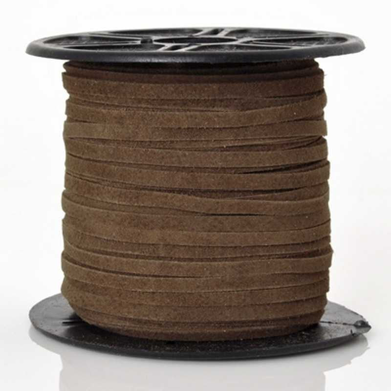 Suede Cord-3mm Flat Suede-Brown-10 Meter Spool