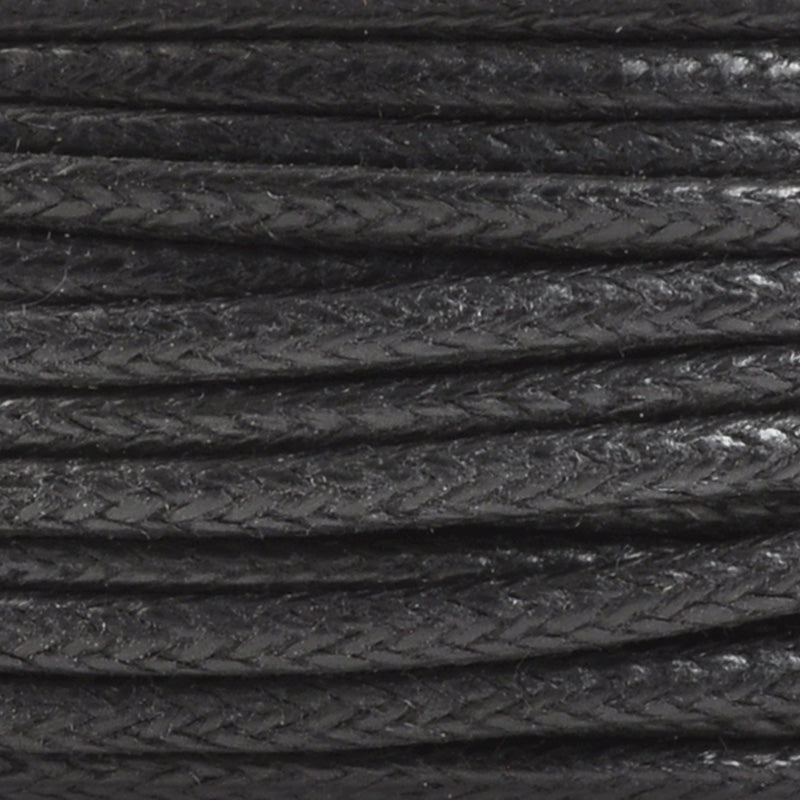 5 10 /& 20 Metre lengths 1.5mm Black Round Waxed Cotton Cord