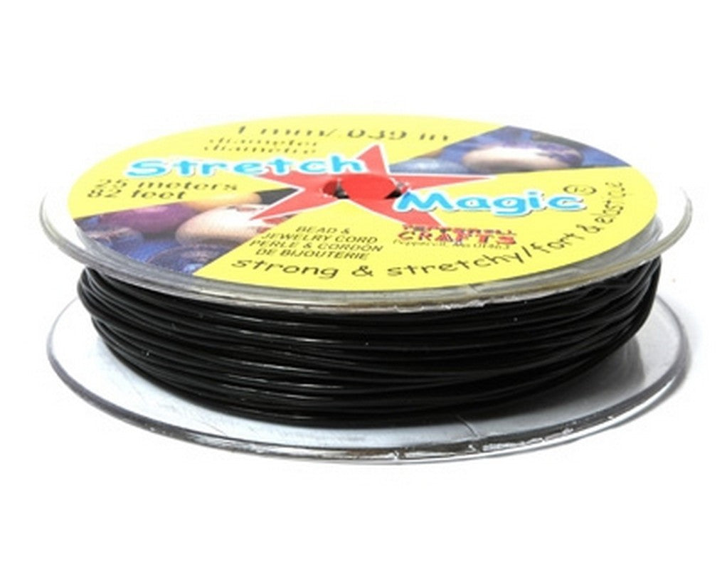 Supplies-1mm Stretch Magic Cord-Black-25 Meters
