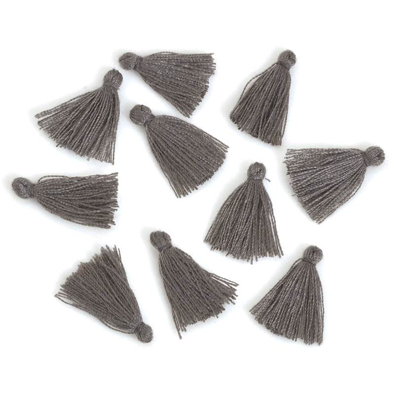 Supplies-20mm Mini Cotton Tassel-Dark Grey-Quantity 10