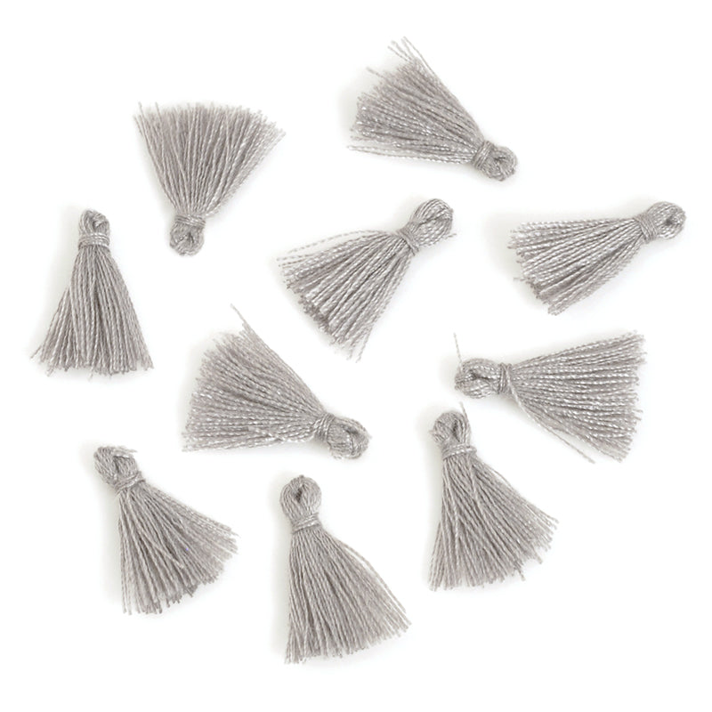 Supplies-20mm Mini Cotton Tassel-Grey-Quantity 10
