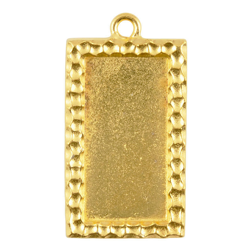 TierraCast-Pewter-30x15mm Rectangle Confetti Bezel-Gold