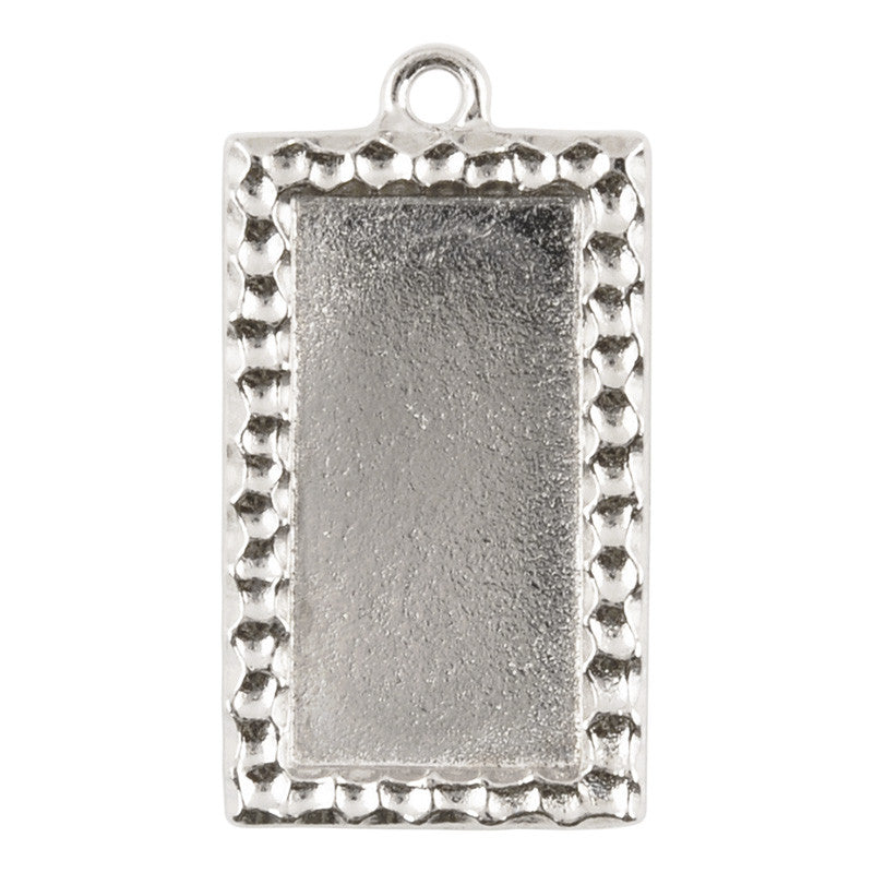 Supplies-30x15mm Rectangle Confetti Bezel-Silver