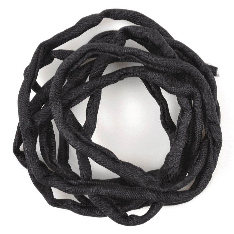 Supplies-3mm Silk Cord-Habotai Foulard-Black-1 Meter