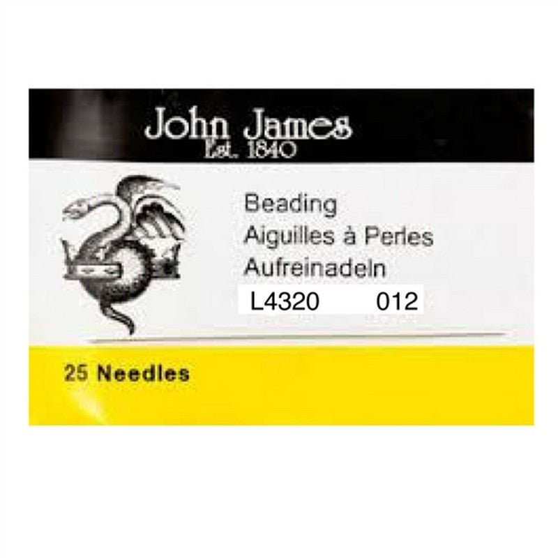 Supplies-Beading Needles-John James-Size 12-Quantity 25