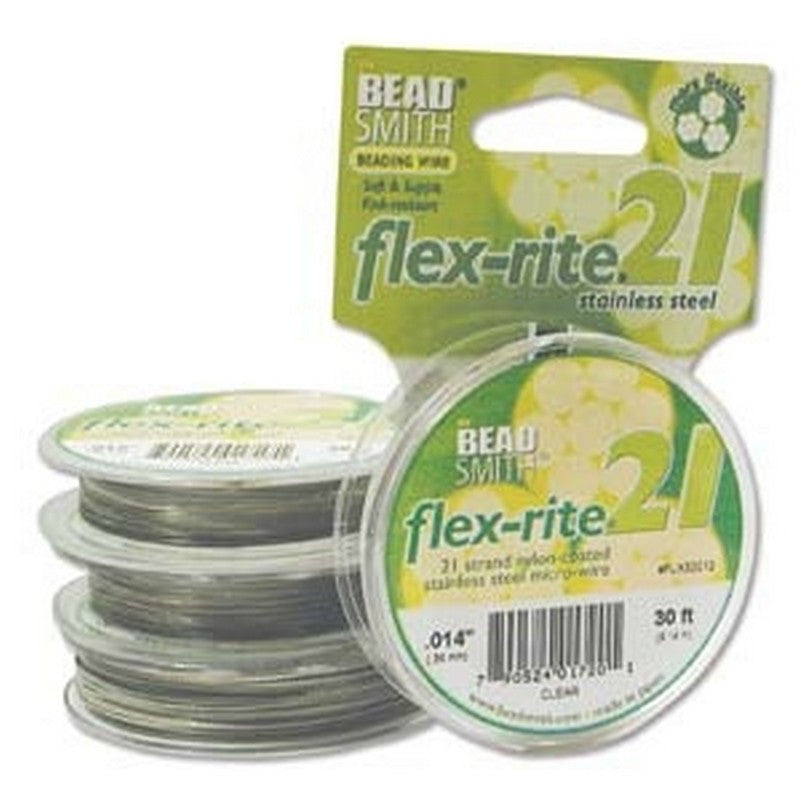 Supplies-Beading Wire-Fine-Flex Rite-.014 Clear-21 Strand-30 Foot Spool