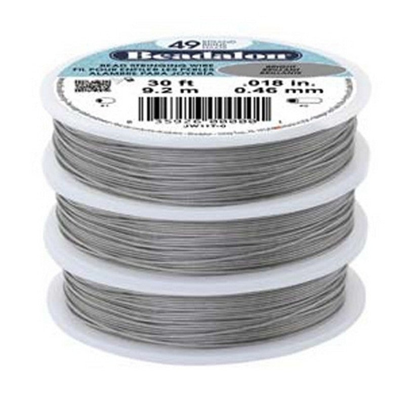 Supplies-Beading Wire-Medium-Beadalon-.018 Bright-30 Foot Spool