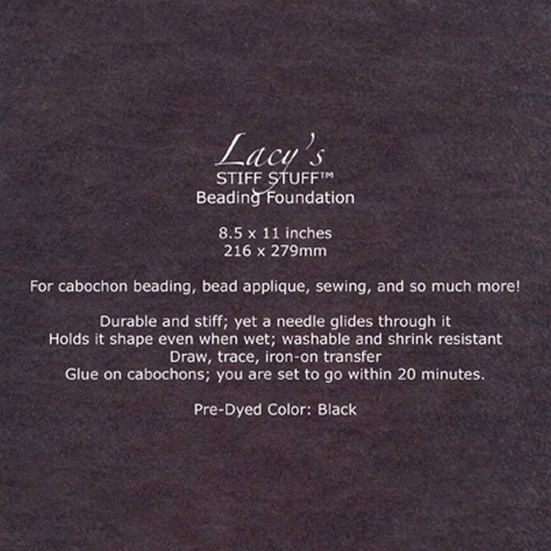 "Supplies-Lacy's Stiff Stuff-Beading Foundation-8.5""x11"" Pre-Dyed-Black"