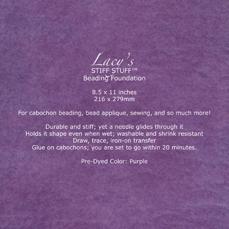 "Supplies-Lacy's Stiff Stuff-Beading Foundation-8.5""x11"" Pre-Dyed-Purple"