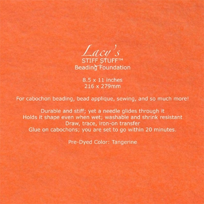 "Supplies-Lacy's Stiff Stuff-Beading Foundation-8.5""x11"" Pre-Dyed-Tangerine"