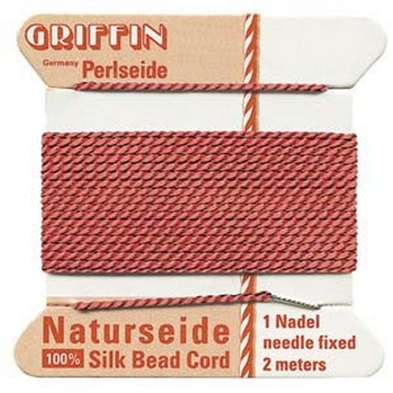 Supplies-Natural Silk Cord-Size 02 Griffin Thread-Coral-2 Meter