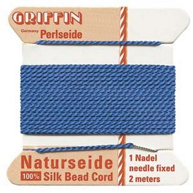 Supplies-Natural Silk Cord-Size 04 Griffin Thread-Blue-2 Meter
