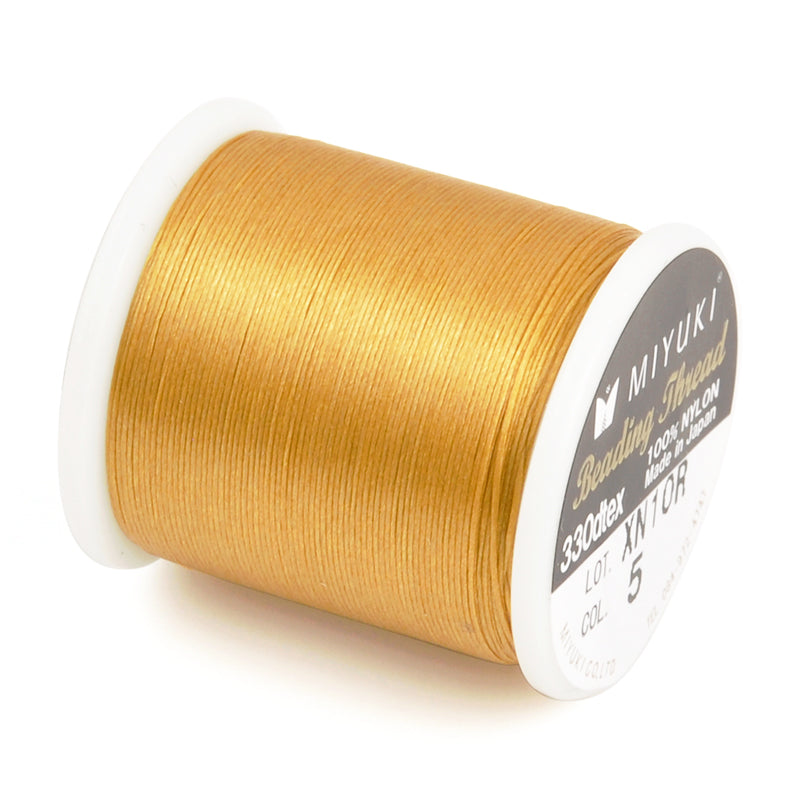 Supplies-Nylon Beading Thread-Size B-54.6 Yards-Gold-Miyuki-Quantity 1