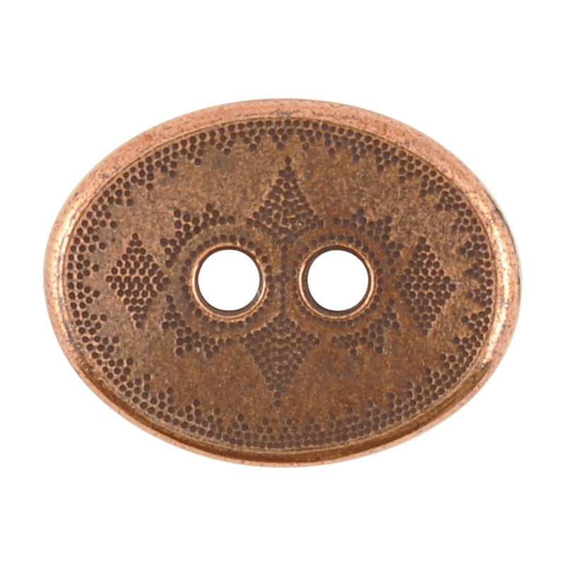 TierraCast Button-15x20mm Oval Tribal-Two Sided-Antique Copper-Quantity 1