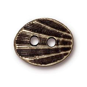 TierraCast-Button-16mm Pewter Shell-Antique Brass-Oval
