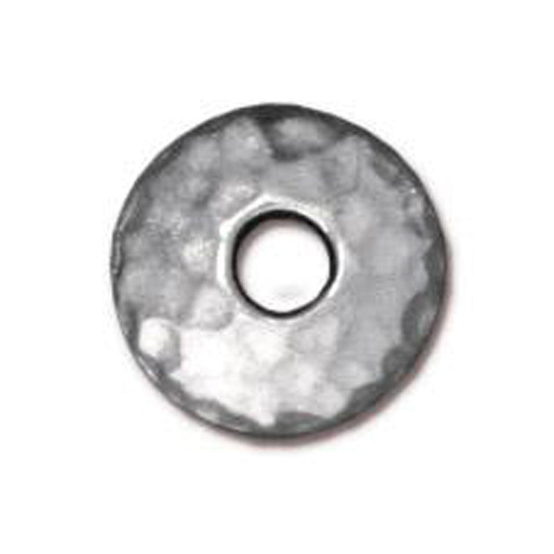 TierraCast-Pewter-10mm Large Hole Hammertone Bead Cap
