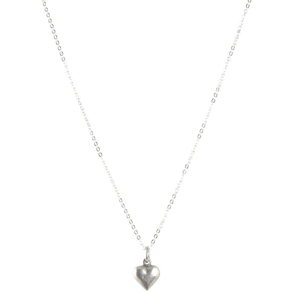 Finished Jewelry-Tiny Heart Silver Charm Necklace