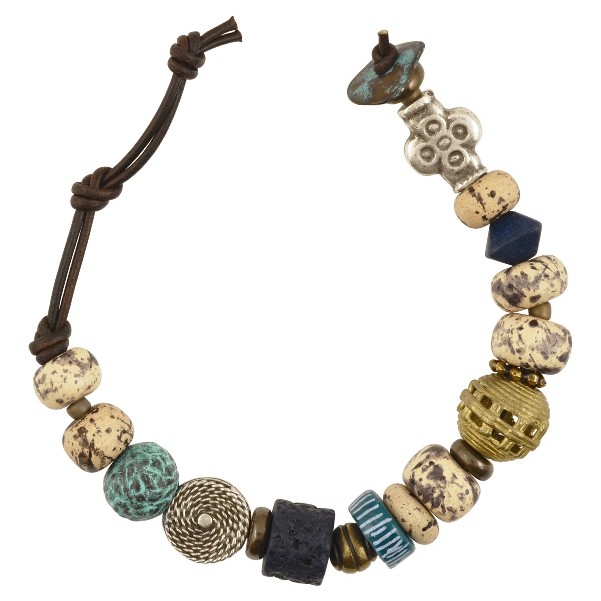 Mixed-Bracelet-Weathered Sapphire-Leather