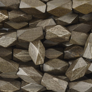 Wood Beads-10x20mm Diamond Cut-Greywood