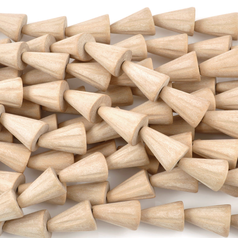 Wood Beads-15x20mm Wood Cones With Grooves-Natural-16 Inch Strand-Quantity 1
