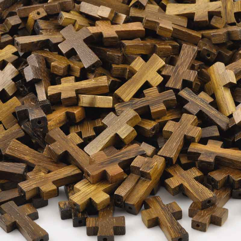Wood Beads-15x25mm Robles Cross-Quantity 1