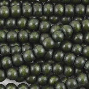 Wood Beads-6mm Round-Dark Forest Green