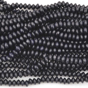 Wood Beads-8x5mm Saucer-Black-16 Inch Strand