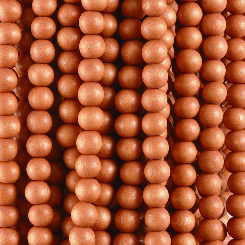 Wood Beads-Round-Light Tangerine