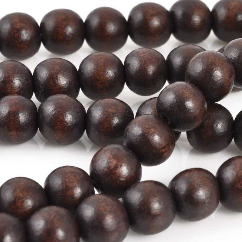 Wood Beads-Round-Chocolate