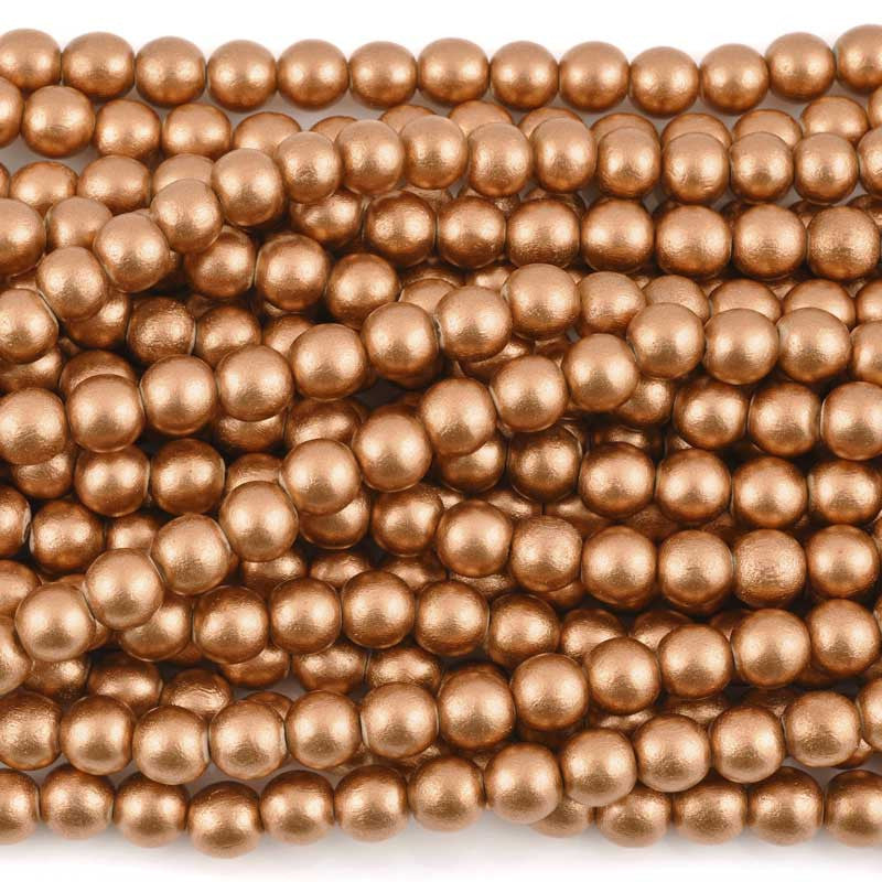 Wood Beads-Round-Copper-16 Inch Strand