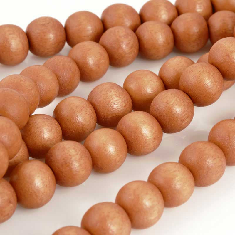Wood Beads-8mm Round-Terra Cotta-16 Inch Strand-Quantity 1