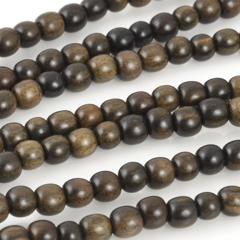 Wood-4mm Ebony Bead-16 Inch Strand