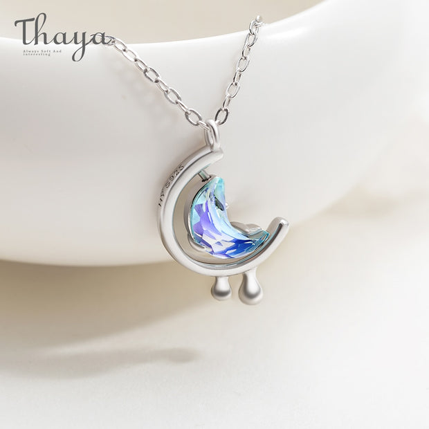 Thaya s925 Silver Water In The Moon Necklace Blue Moon Bohemia Women Choker Necklace for Women Jewelry Gift - The 24/7 Store