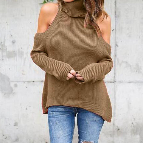 Ladies Shoulder Turtleneck Knitted Full Solid Long Sleeve Sweaters - The 24/7 Store