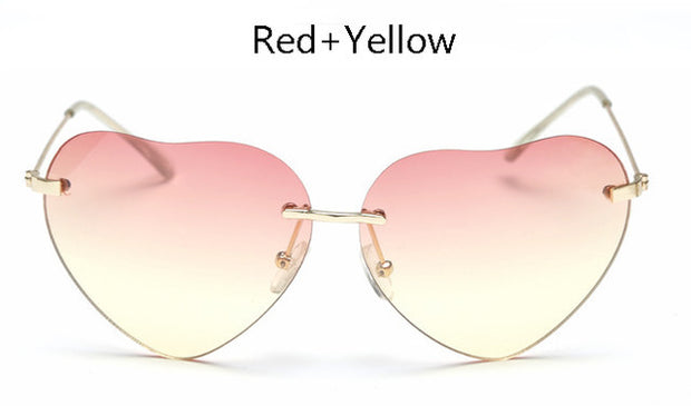 Women Rimless Heart Shape Clear Sun Glasses UV400 - The 24/7 Store