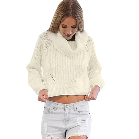 Sweater, Pullovers Solid Long Sleeve Knitted Loose Sweater - The 24/7 Store