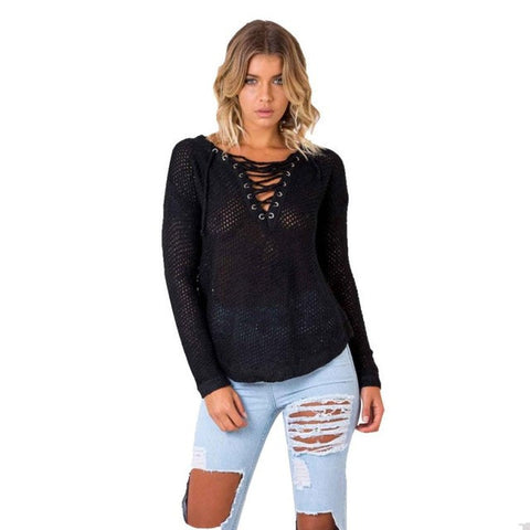 Womens Loose V Neck Casual Long Sleeve Jumper Knitted - The 24/7 Store