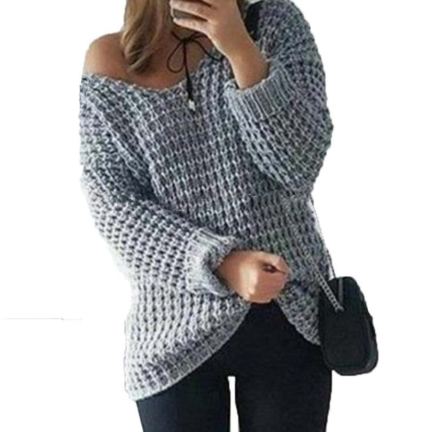 Women Autumn V Neck Off Shoulder Long Sleeve Knitted Pullover Casual Loose Sweater - The 24/7 Store